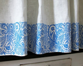 French Country Paisley Cafe Curtain kitchen home decor set of two panels or valance hand block printed choice of colors