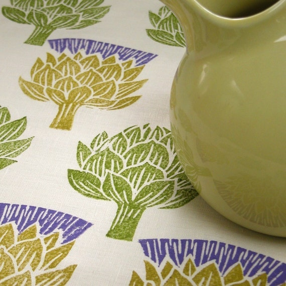 Artichoke Thistle hand block printed linen tea towel kitchen decor