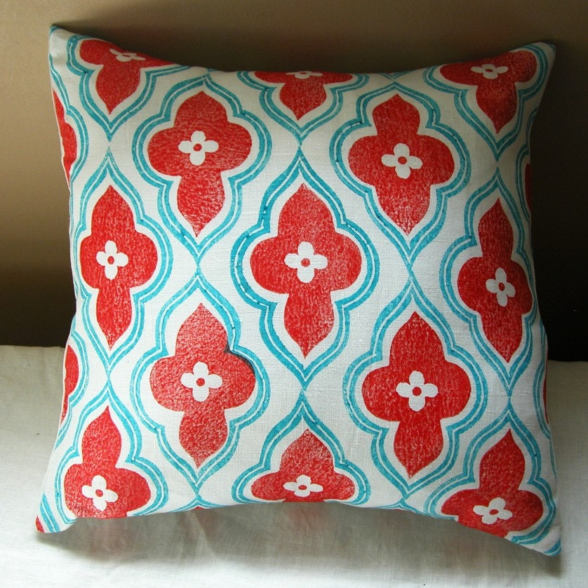 Red And Turquoise Hand Block Printed Linen Ogee Design Home