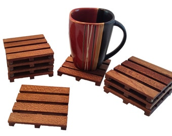 African Mahogany Beverage Pallet Drink Coasters - Set of 4 Coffee Coasters - Beverage Pallets - Elegant Coffee Coasters