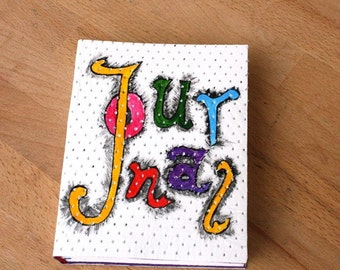 White Leather Journal with Colorful Hand Lettering