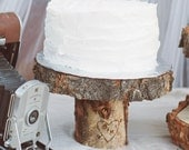 The Original - As seen in Country Living Magazine - Rustic Wood Tree Slice Cake Pedestal With Custom Engraving for your Wedding - Christmas