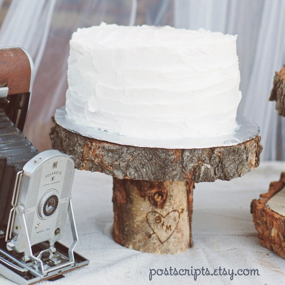 The Original Rustic Wood Tree Slice Cake Pedestal without engraving for your Wedding (as seen in Country Living Magazine) - CHRISTMAS GIFT