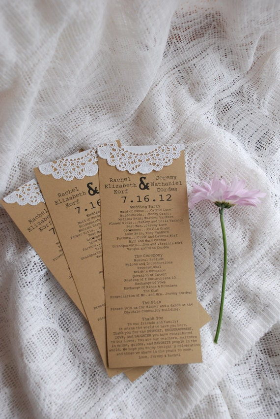 Custom for Sara - Vintage Lace Doily Wedding Programs- Save the Date - Baby or Bridal Shower  - Engagement Party - Escort Card