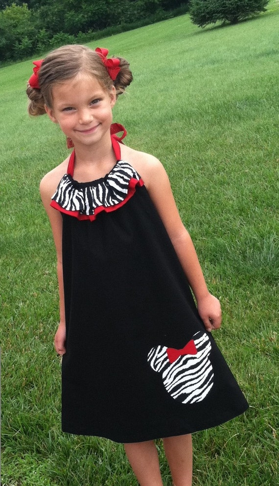 Minnie Mouse inspired Zebra Ruffle Halter  Dress Sizes 2T - 9