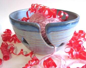 Yarn bowl, Knitting yarn holder, dusty blue yarn bowl, Ceramic yarn bowl, Made To Order