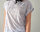 Floral Burnout Top Lilac / Purple Boxy / Oversized Tee Boatneck Short Cap Sleeve Lace Mesh Cover Up Shirt Cropped Roses, Free Shipping