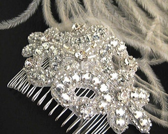 Wedding Accessory Bridal Hair Comb, Josephine (Free U.S. Shipping) - crystal, cubic, rhinestone, art deco, art nouveau