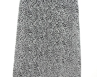 Vintage 80's Silk Black and White Polka Dot Pleated Skirt, Size 8