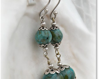 Mermaid Bling - Beaded Sea Green Earrings