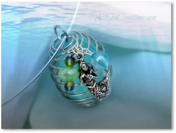 Mermaid Wire-Wrapped Glass Stone with Beads and Pewter Charm