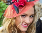 Red Fascinator - Red Black Wedding Hat  Feather Fascinator Crin Fascinator Hat