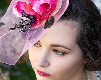 Pink derby Fascinator   hot pink fascinator hat Wedding Hat HARMONY