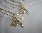 Gold Filled Dragonfly Earrings
