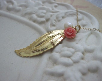 Gold Leaf Necklace, Coral Red Flower, Freshwater White Pearl Necklace