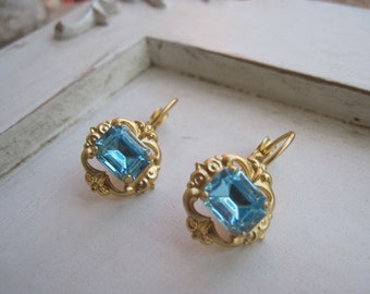 Swarovski Rhinestone Earrings, Vintage Inspired Swarovski Crystal Earrings, Blue Earrings, Gold