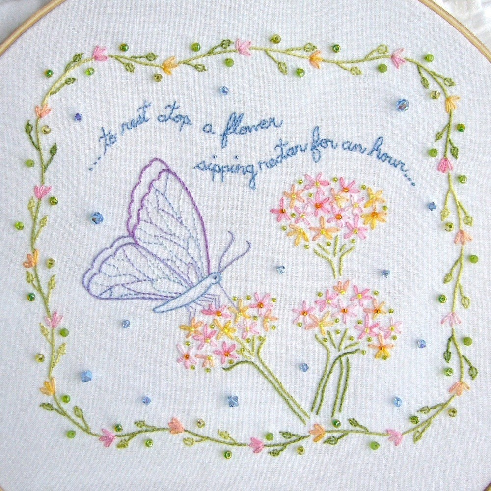 Pdf butterfly embroidery pattern with border and beads