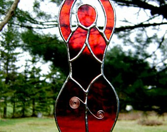 Goddess Stained Glass Aphrodite Woman Red Suncatcher Hathor Scarlet Halloween Yule Pagan Mothers Day Birthday Solstice Original Design©