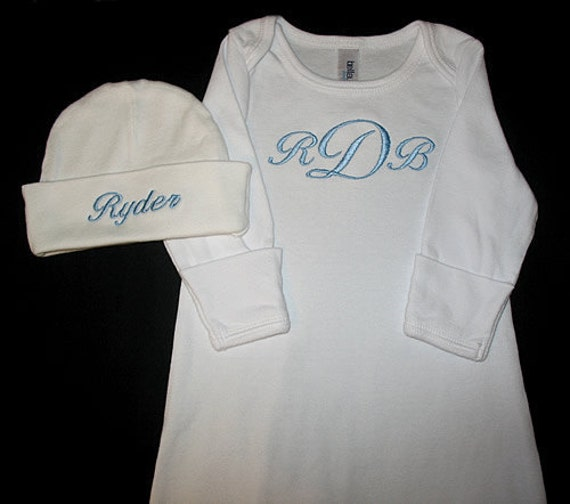 Design Your Own - Custom Personalized 3 INITIAL Monogram and NAME Infant Gown and Hat Set - You Choose Font and Thread Color
