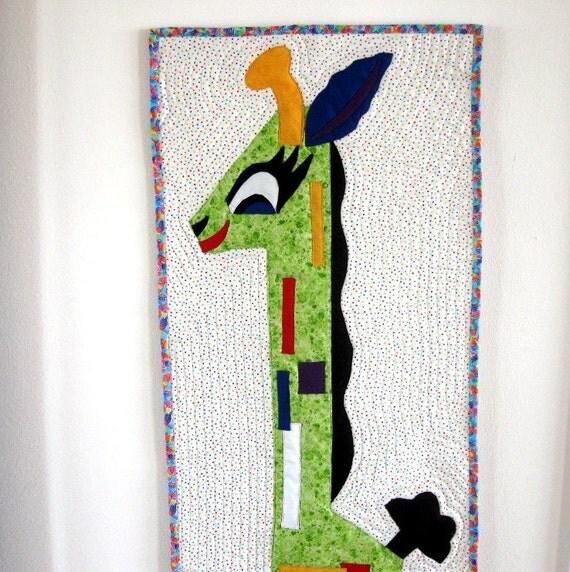 Wall Art Quilt Giraffe Wall Hanging Art Quilt Childrens Room Baby Decor Nursery Red Green Blue Handmade