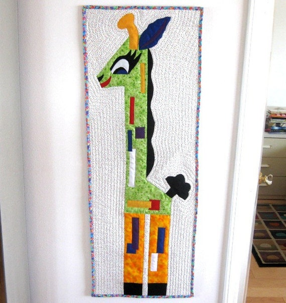 Quilting Room Wall Decor : Wall hanging giraffe art quilt childrens room baby by
