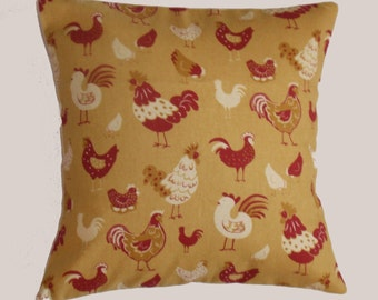 """Throw Pillow Cover, Rustic Yellow Chickens Pillow Cover, Decorative Handmade Cushion Cover, Happy Chicken Pillow Cover, 16x16"""" - LAST ONE"""