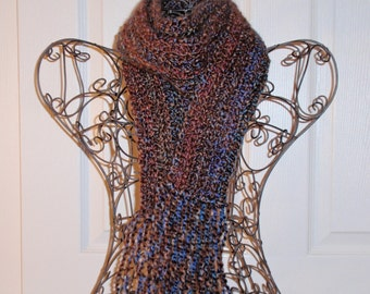 Hand Crocheted Scarf  SUPER SOFT Homespun Yard Chocolate Nouveau - Women's Fashion Scarf, Woman's Apparel, Scarf, Scarves, Fashion Accessory