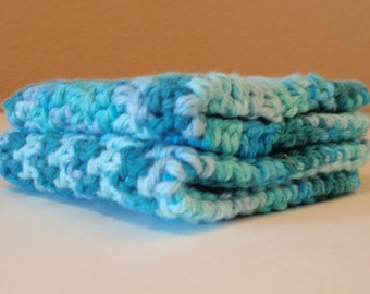 Hand Crochet Washcloths - Turquoise Blue Scrubbie Cloth - Eco Friendly Cleaning Cloth - Handmade Washcloth - SET OF 2 - 100% Cotton Yarn