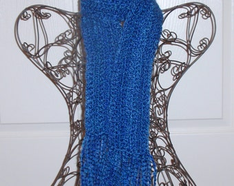 Hand Crocheted Scarf - SUPER SOFT Women's Royal Blue Fashion Scarf, Woman's Apparel, Ladies Fashion Accessory, Homespun Yarn in Montana Sky