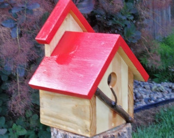 Bird House - A Persnickety Rustic RED Bird house in Reclaimed Wood and Branches
