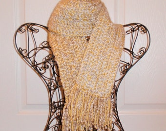 Hand Crocheted Scarf - SUPER SOFT Homespun Yard Vanilla & Butter Yellow - Fashion Scarf, Woman's Apparel, Scarf, Scarves, Fashion Accessory