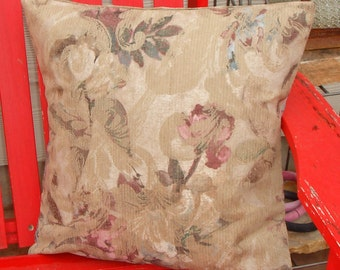 Throw Pillow Cover, Outdoor Pillow Cover, Decorative Outdoor Tan Floral Cushion Cover, Ikat's Floral Swirl Multicolor Fabric, LAST ONE