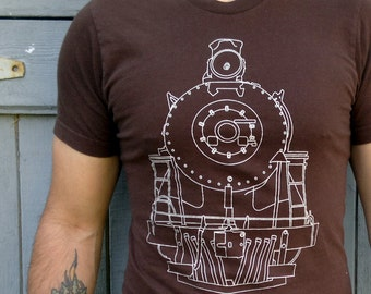 Train T-Shirt - Mens T-Shirt | T-Shirt Men - T-Shirt with Train - Brown T-Shirt - Mens Brown T-Shirt - T-Shirt for Dad - Locomotive Clothing