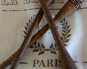 3 Antique French Wooden Spools Bobbins