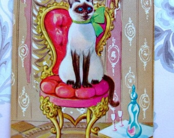 Vintage Kitten Antique French Felines Siamese Cat Playing Cards for Altered Art and Collage
