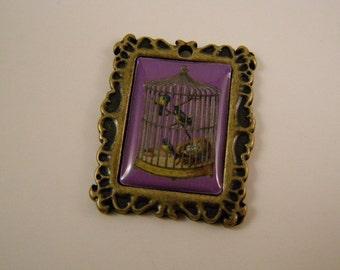 birdcage metal charm or pendant
