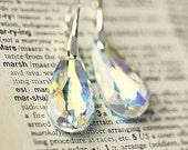 Swarovski Crystal AB Teardrop European Style Sterling Silver Earrings, wedding Jewelry, Gift for Her,Handmade by Maki Y design