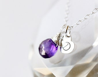 Personalized Initial Charm and Purple Amethyst Gemstone 925 Sterling silver Necklace, FEBRUARY,Every day Jewelry, Wedding, birthstone