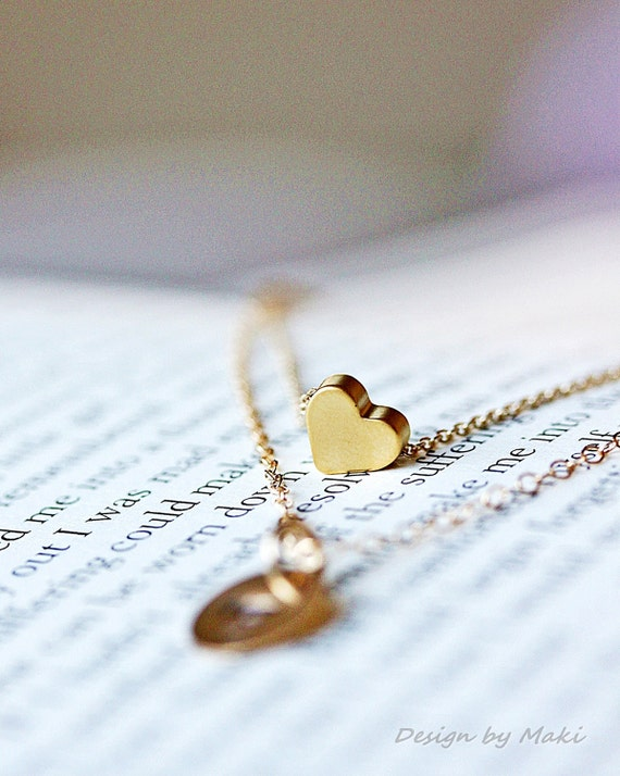 Initial necklace-Simple Tiny Heart Layer Necklaces with Personalized  Charm-14k Gold Filled or Sterling Silver-BFF, Wedding,Gift for mom