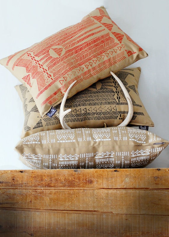 SALE - Going Hunting -  Red and Cornstalk - Modern Print Hand Printed Pillow Cover - by Simka Sol