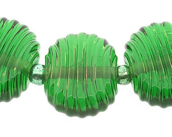 Handmade Bright Christmas Green Glass ribbed lampwork tab beads - Made to Order
