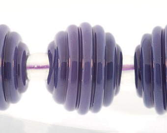 Round Ribbed lampwork beads, lampwork beads in Lilac Round Ribbed, purple ribbed beads, Bims Bangles, Made to Order