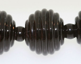 lampwork beads, 6 Black Murano Glass ribbed lampwork round beads, Made to Order, Bims Bangles, black lampwork beads, black round beads
