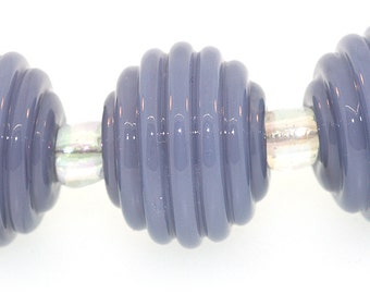 Handmade Opaque Lavender Blue Round Ribbed Lampwork Beads  - Made to Order