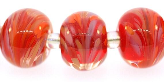 FIVE (5) Handmade Bright Orange Round Lampwork Beads