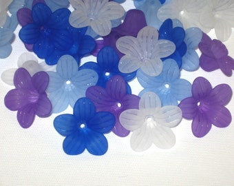 24 Acrylic Frosted Flower Beads Shady Garden Days Mix 24.5mm