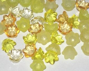 Lucite Flower Beads Acrylic Flower Beads -60 Tulip Bell Flowers - Buttercup - 10mm