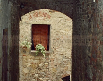Italy Art Photo, Rustic Italian Photography, Window Wall Art, European Home Decor, Window Photograph, Italian Nana's Kitchen, Matted 5x7