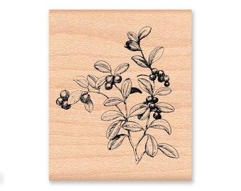 LINGONBERRIES - wood mounted rubber stamps (mcrs 02-01)