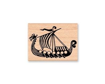 VIKING SHIP Rubber Stamp~Nordic Vikings~Norway~Longships~Scandinavian~Explorer~Large or small size stamp~wood mounted (01-02sm)(38-12lg)
